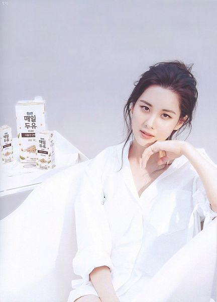 Tags: SM Town, K-Pop, Girls' Generation, Seohyun, Purple Background, White Outfit, Magazine Scan, Cosmopolitan