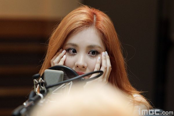 Tags: K-Pop, Girls' Generation, Seohyun, Looking Away, Red Hair, Hand On Cheek, FM Date