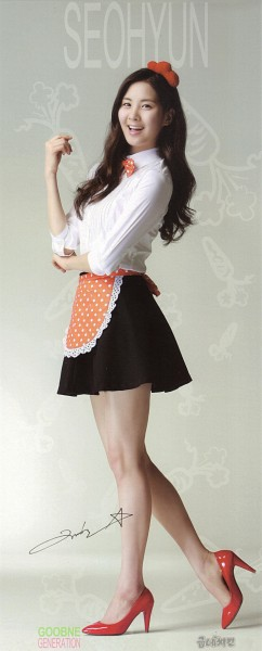 Tags: K-Pop, Girls' Generation, Seohyun, Gray Background, Apron, Bare Legs, Spotted, Text: Artist Name, Food, Red Footwear, Spotted Bow, Crossed Arms