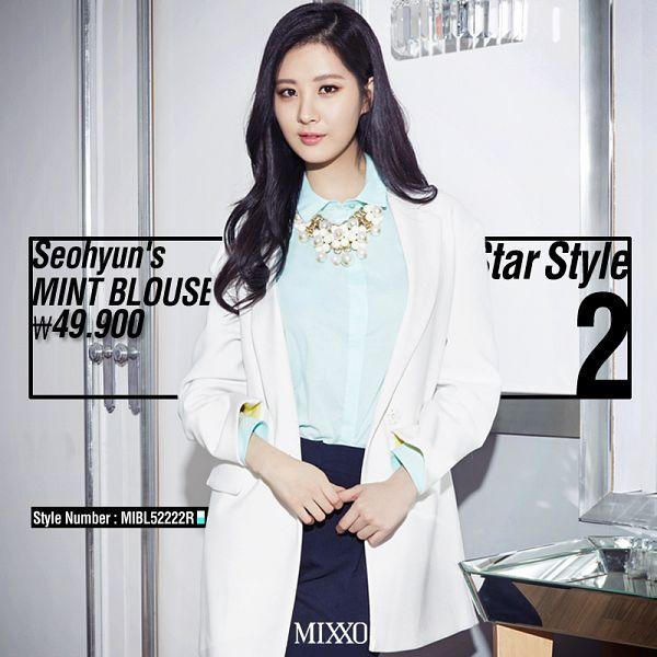 Tags: K-Pop, Girls' Generation, Seohyun, White Jacket, Light Background, White Outerwear, Blue Shirt, White Background, Text: Brand Name, Black Pants, Necklace, Text: Magazine Name
