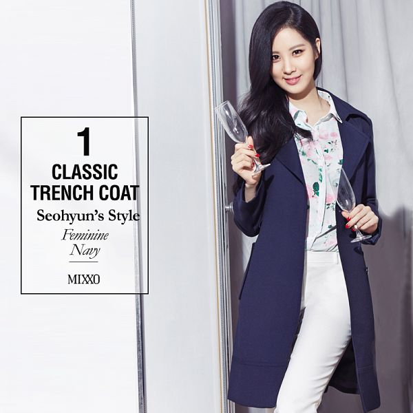 Tags: K-Pop, Girls' Generation, Seohyun, Light Background, Make Up, Floral Print, White Background, Text: Brand Name, Text: Artist Name, Blue Jacket, Glass (Cup), Black Jacket