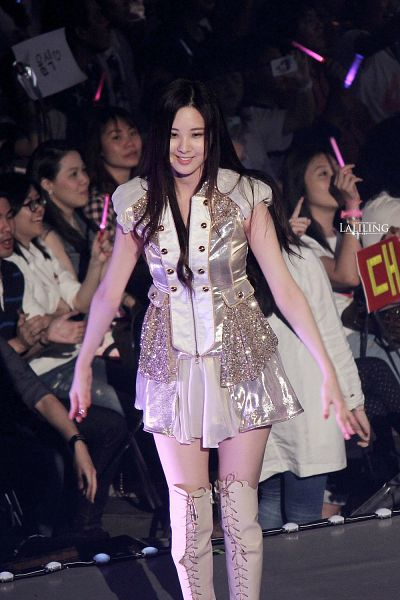 Tags: K-Pop, Girls' Generation, Seohyun, Onstage, White Footwear, Knee Boots, Looking Ahead, White Outfit, Bare Legs, Boots, White Legwear, White Dress