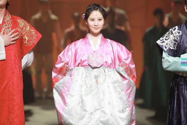 Tags: K-Pop, Girls' Generation, Seohyun, Looking Ahead, Hair Up, Pink Outfit, Traditional Clothes, Pink Dress, Hair Ornament, Hanbok, Black Headwear