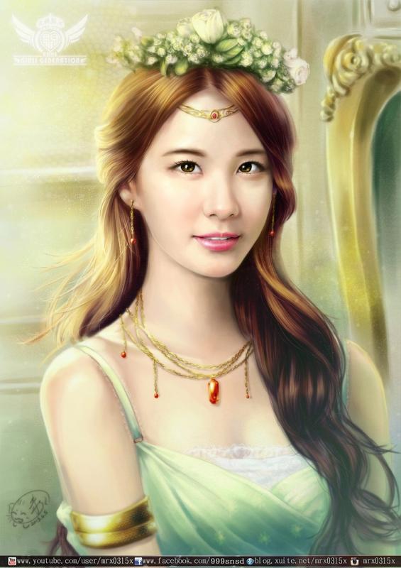Tags: K-Pop, Girls' Generation, Seohyun, Flower, Green Dress, Crown, Green Outfit, Necklace, Flower Crown, Fanart