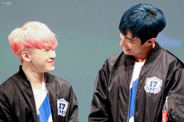 Tags: K-Pop, Seventeen, DK (Seventeen), Woozi, Blue Background, Fansigning Event
