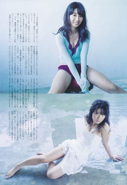 Tags: J-Pop, SKE48, Shibata Aya, Cleavage, From Above, Spread Legs, Midriff, Japanese Text, Black Eyes, Purple Shorts, Barefoot, Multiple Persona
