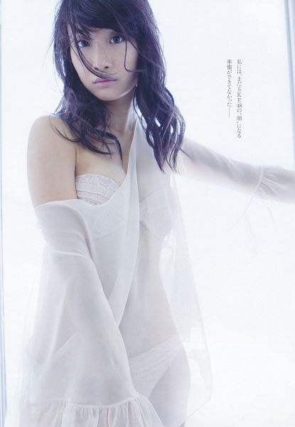 Tags: J-Pop, SKE48, Shibata Aya, Cleavage, See Through Clothes, Lingerie, Midriff, Text: Artist Name, Bra, Light Background, Bare Shoulders, Suggestive