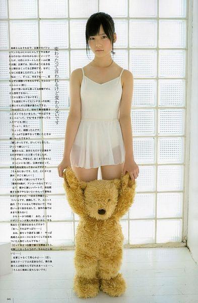 Tags: AKB48, Shimazaki Haruka, Stuffed Animal, Bare Shoulders, White Outfit