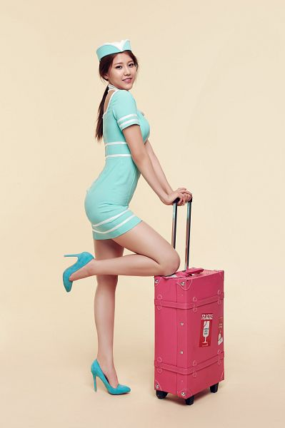 Tags: K-Pop, AOA (Ace Of Angels), Shin Hyejeong, Suitcase, Blue Outfit, Hat, Orange Background, Ponytail, Blue Dress, Shoes, Blue Footwear, Bag