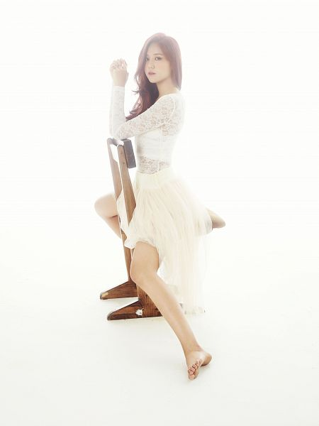 Tags: K-Pop, AOA (Ace Of Angels), Shin Hyejeong, White Background, Lace, Barefoot, Chair, White Dress, White Outfit, Sitting On Chair, Light Background, Red Hair
