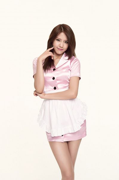 Tags: K-Pop, AOA (Ace Of Angels), Shin Hyejeong, Collarbone, Crossed Arms, Apron, Nail Polish, Light Background, Finger To Cheek, Pink Outfit, White Background, Make Up