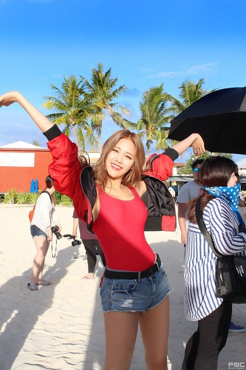 Tags: K-Pop, AOA (Ace Of Angels), AOA Cream, Good Luck (Song), Shin Hyejeong, Red Shirt, Red Outerwear, Jeans, Blue Shorts, Denim Shorts, Palm Tree, Shorts