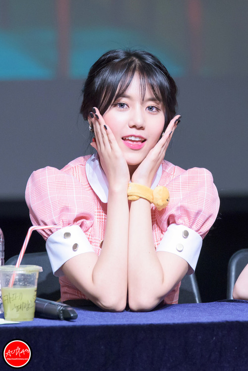 Tags: K-Pop, AOA (Ace Of Angels), AOA Cream, Shin Hyejeong, Hair Buns, Hair Up, Twin Buns, Looking Down, Pink Dress, Pink Outfit, Bracelet, Blue Eyes