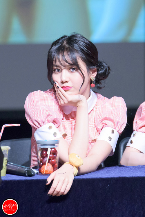 Tags: K-Pop, AOA (Ace Of Angels), AOA Cream, Shin Hyejeong, Looking Away, Blue Eyes, Pink Outfit, Fruits, Pink Dress, Twin Buns, Bracelet, Strawberry