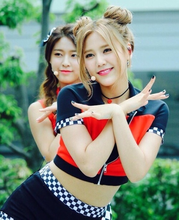 Tags: K-Pop, AOA (Ace Of Angels), AOA Cream, Shin Hyejeong, Kim Seolhyun, Black Skirt, Multi-colored Shirt, Hair Up, Twin Buns, Necklace, Skirt, Checkered