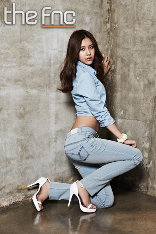 Tags: K-Pop, AOA (Ace Of Angels), Shin Hyejeong, Midriff, White Footwear, Kneeling, Jeans, Hand On Leg, High Heels, Denim Shirt