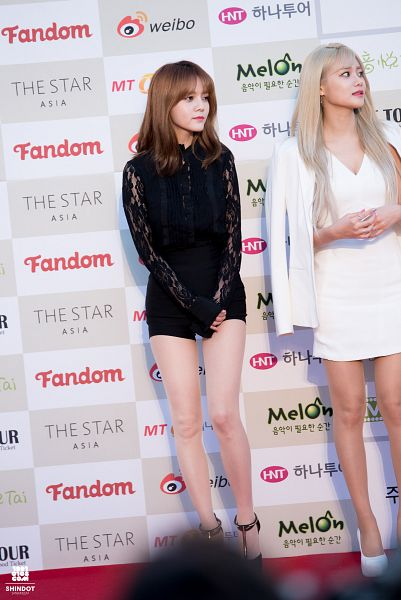 Tags: K-Pop, AOA (Ace Of Angels), Seo Yuna, Shin Jimin, White Dress, Korean Text, White Footwear, White Outfit, Black Footwear, Checkered Background, Shoes, Two Girls