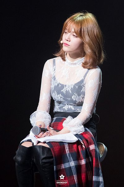 Tags: K-Pop, AOA (Ace Of Angels), Shin Jimin, Blanket, Dark Background, Shorts, Black Background, See Through Clothes, Knee Boots, Floral Shirt, Chair, Black Footwear