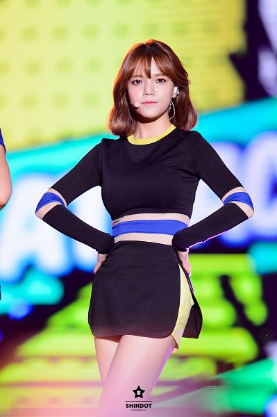 Tags: K-Pop, AOA (Ace Of Angels), Shin Jimin, Black Outfit, Bare Legs, Black Dress, Medium Hair, Hand On Hip, Shindot, Android/iPhone Wallpaper