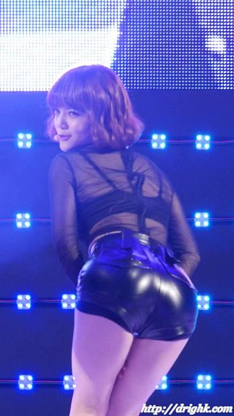 Tags: K-Pop, AOA (Ace Of Angels), Shin Jimin, See Through Clothes, Back, Shorts, Bare Legs, Suggestive, Looking Back, Leather Shorts, Bend Over, Black Shorts