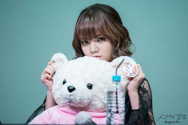 Tags: K-Pop, AOA (Ace Of Angels), Shin Jimin, Stuffed Animal, Blue Background, Water, Medium Hair, Stuffed Toy, Bottle, Shinjimin.com