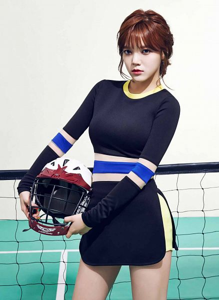 Tags: K-Pop, AOA (Ace Of Angels), Heart Attack (AOA), Shin Jimin, Hair Up, Black Dress, Black Outfit, Helmet, Android/iPhone Wallpaper
