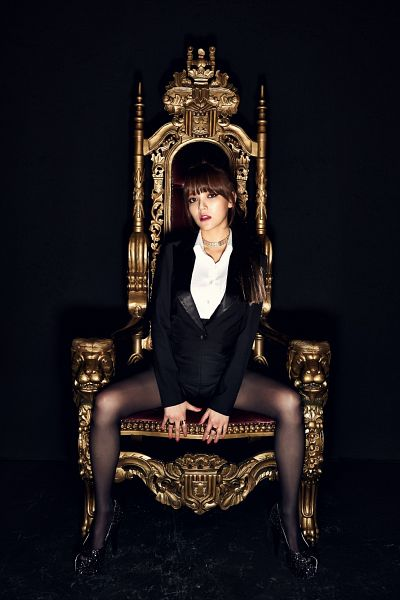 Tags: K-Pop, AOA (Ace Of Angels), Shin Jimin, Spread Legs, High Heels, Black Shorts, Black Jacket, Black Outerwear, Suggestive, Dark Background, Full Body, Black Legwear