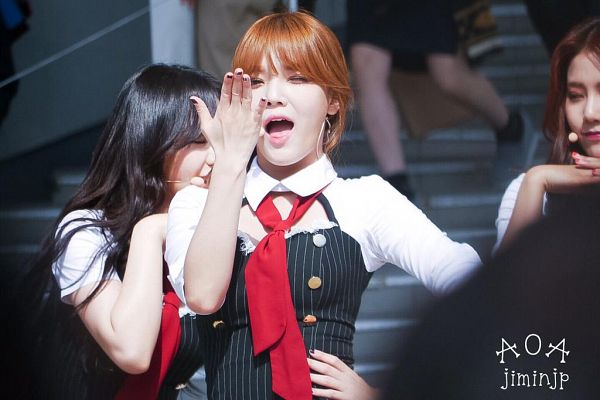 Tags: K-Pop, AOA (Ace Of Angels), Shin Jimin, Hand On Hip, Kiss, Blow a Kiss, Tie, Hair Up, Wink, Red Neckwear, Black Dress, Detached Collar