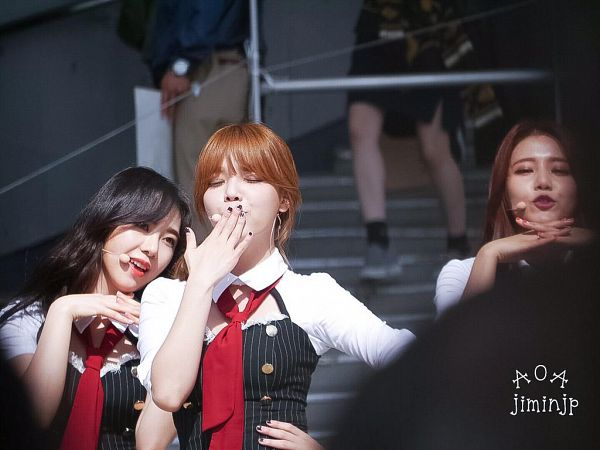 Tags: K-Pop, AOA (Ace Of Angels), Shin Jimin, Eyes Closed, Covering Mouth, Black Outfit, Hand On Hip, Kiss, Blow a Kiss, Tie, Hair Up, Red Neckwear