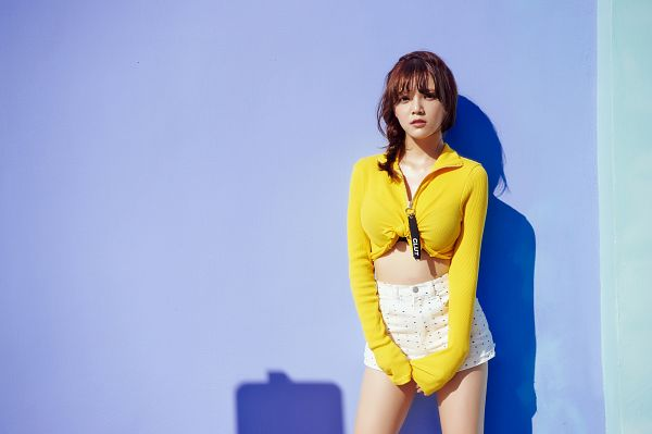 Tags: K-Pop, AOA (Ace Of Angels), Good Luck (Song), Shin Jimin, Midriff, White Shorts, Ponytail, Medium Hair, Yellow Outerwear, Blue Background, Shorts, Wallpaper