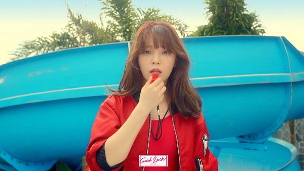 Tags: K-Pop, AOA (Ace Of Angels), Good Luck (Song), Shin Jimin, Swimsuit, Red Outfit, Text: Artist Name, Whistle, Red Jacket, Make Up, Red Outerwear, HD Wallpaper