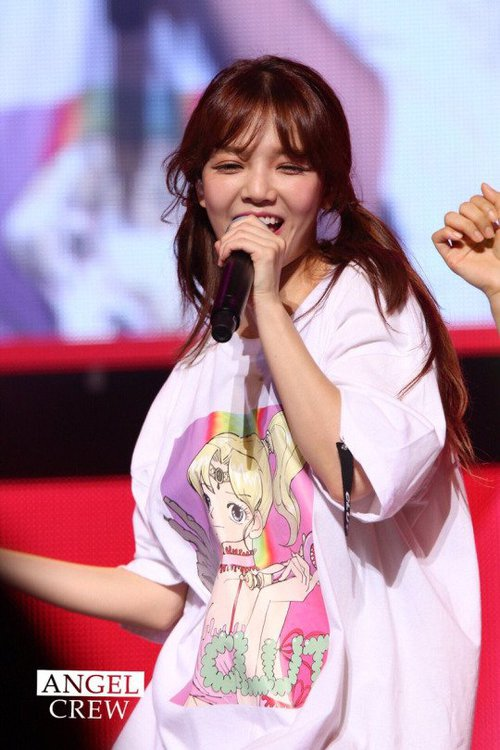 Tags: K-Pop, AOA (Ace Of Angels), Shin Jimin, Microphone, Singing, Teeth, Eyes Closed, Twin Tails, Pink Shirt
