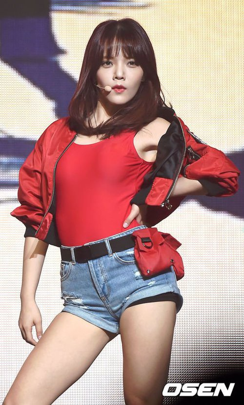 Tags: K-Pop, AOA (Ace Of Angels), Good Luck (Song), Shin Jimin, Belt, Red Jacket, Red Shirt, Jeans, Blue Shorts, Red Outerwear, Jacket, Denim Shorts