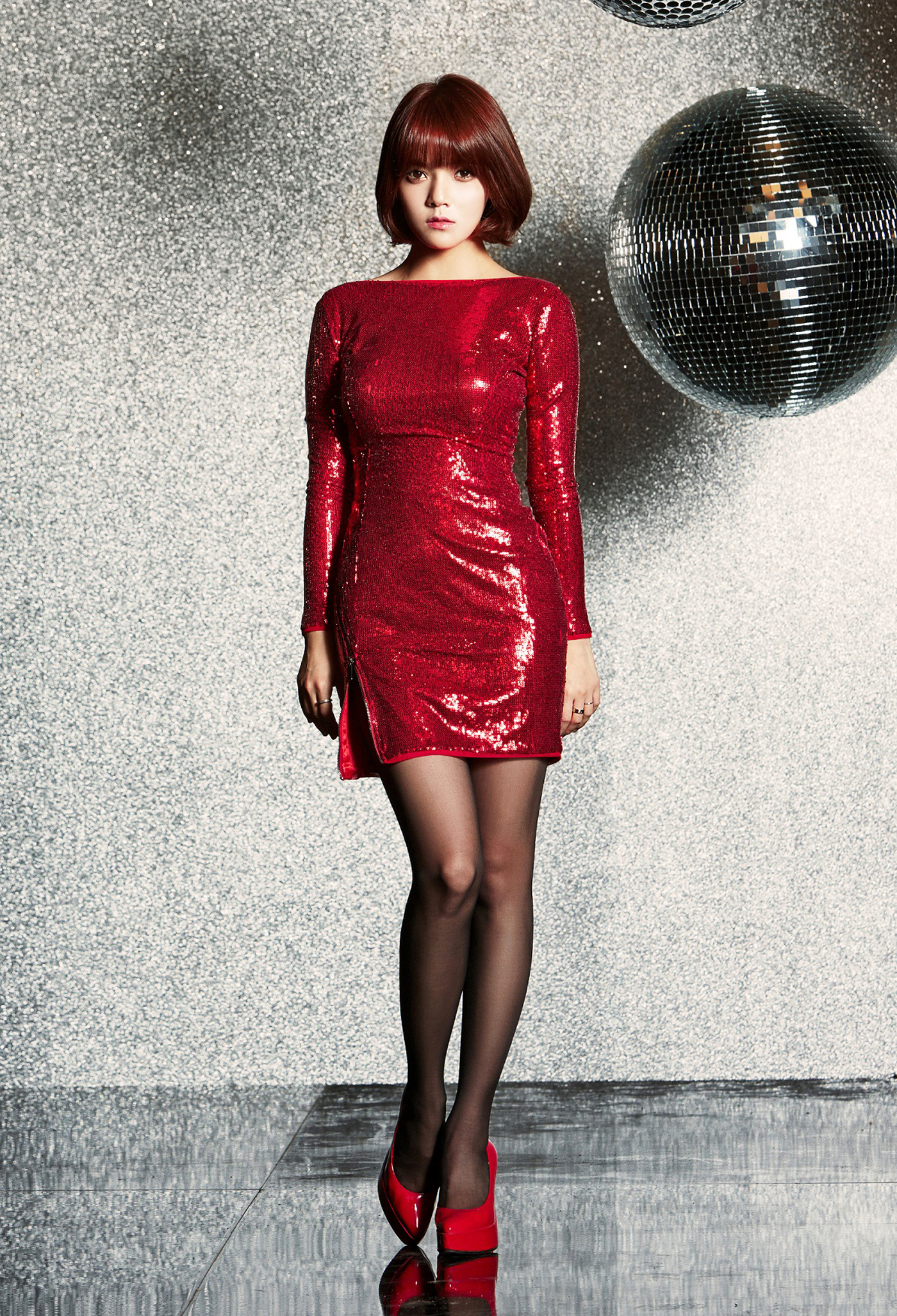 Red dress red shoes kpop
