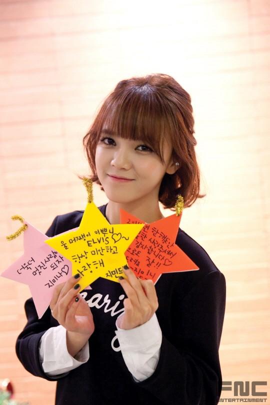 Tags: K-Pop, AOA (Ace Of Angels), Shin Jimin, Korean Text, Text: Company Name, Make Up, Medium Hair, Nail Polish