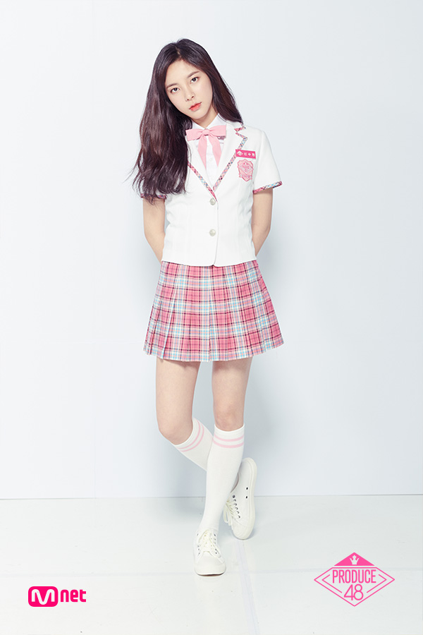 Tags: K-Pop, Television Show, Shin Suhyun, Light Background, Head Tilt, Text: Series Name, Thigh Highs, Make Up, White Outerwear, White Background, White Jacket, Pink Neckwear