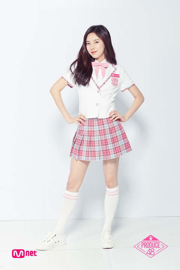 Tags: Television Show, K-Pop, Shin Suhyun, Collar (Clothes), Pink Neckwear, Sneakers, Checkered Skirt, Wavy Hair, Pink Skirt, Checkered, Light Background, White Footwear