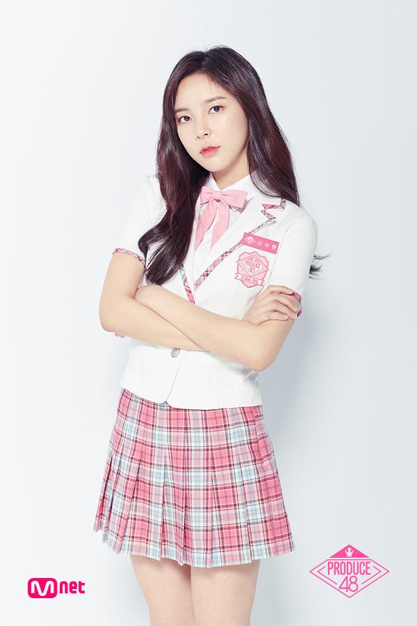 Tags: Television Show, K-Pop, Shin Suhyun, Light Background, White Jacket, Short Sleeves, White Background, Korean Text, White Outerwear, Wavy Hair, Collar (Clothes), Text: Series Name