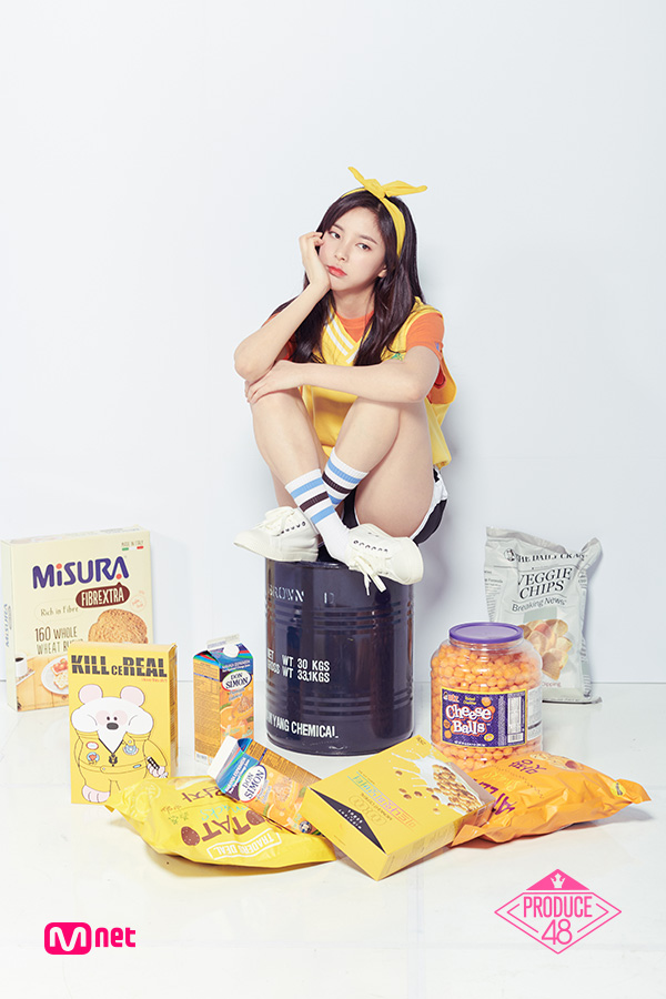 Tags: K-Pop, Television Show, Shin Suhyun, Text: Series Name, Socks, Short Sleeves, Hairband, White Background, Sweater, Hair Ornament, Wavy Hair, Frown