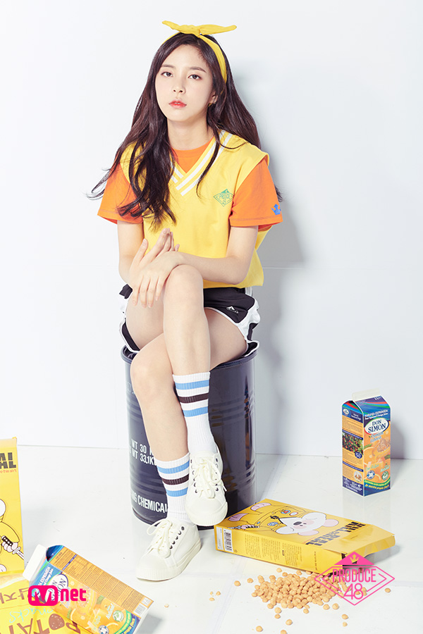 Tags: K-Pop, Television Show, Shin Suhyun, White Background, Sweater, Text: Series Name, Shorts, Hairband, Shoes, Orange Shirt, Hair Ornament, Chin In Hand