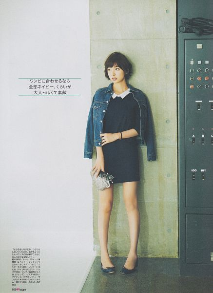 Tags: J-Pop, AKB48, Shinoda Mariko, Bare Legs, Black Outfit, Black Footwear, Black Dress, Japanese Text, Looking Away, Bag, Bracelet, Denim Jacket