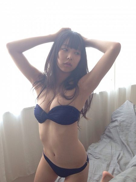 Tags: J-Pop, NMB48, Shiroma Miru, Barefoot, Midriff, Swimsuit, Looking Away, Hand In Hair, Bare Shoulders, Kneeling, Arms Up, Light Background