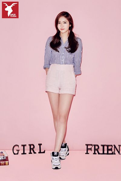 Tags: K-Pop, G-friend, SinB, Sneakers, Twin Tails, Pink Shorts, Striped Shirt, Striped, Full Body, Crossed Legs (Standing), Pink Background, Shoes