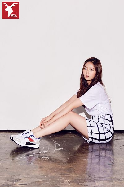 Tags: K-Pop, G-friend, SinB, Serious, Full Body, Gray Background, Sitting, Short Sleeves, Shoes, Skirt, Sitting On Ground, Sneakers
