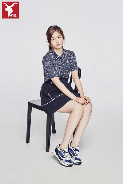 Tags: K-Pop, G-friend, SinB, Shoes, Blue Shirt, Ponytail, Serious, Skirt, Full Body, Blue Skirt, Chair, Sneakers
