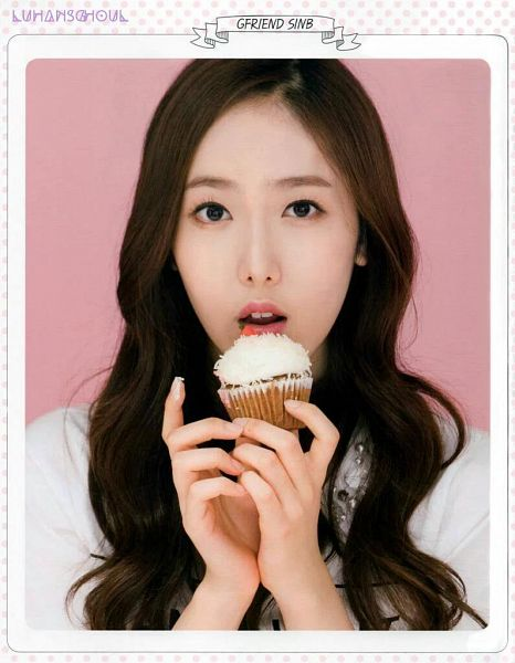 Tags: K-Pop, G-friend, SinB, Cupcake, Text: Artist Name, Sweets, Pink Background, Magazine Scan, 10asia + Star