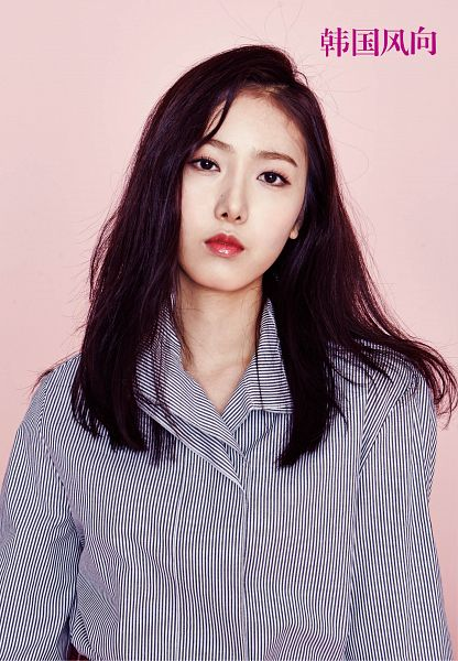 Tags: K-Pop, G-friend, SinB, Red Lips, Serious, Striped Shirt, Striped, Pink Background, Magazine Scan, Android/iPhone Wallpaper, K-Lifestyle