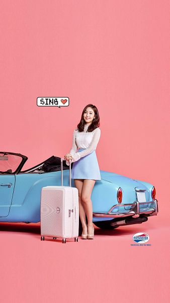 Tags: K-Pop, G-friend, SinB, High Heels, Bag, Skirt, Car, Full Body, Pink Background, Suitcase, Blue Skirt, Android/iPhone Wallpaper