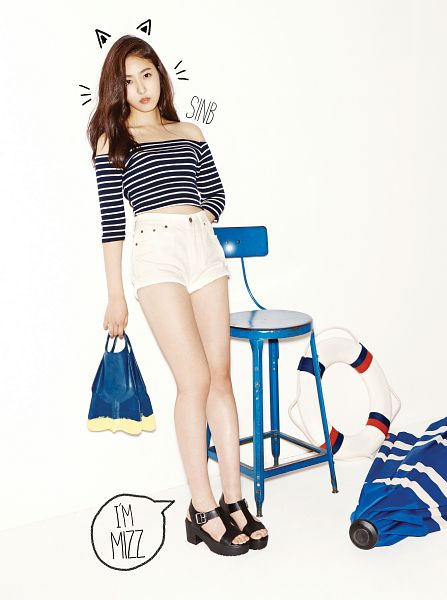Tags: K-Pop, G-friend, SinB, Flotation Devices, Serious, Striped Shirt, Striped, Hand In Pocket, Text: Artist Name, White Shorts, Shorts, Sandals