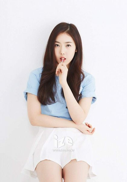 Tags: K-Pop, G-friend, SinB, Light Background, White Skirt, White Background, Text: URL, Short Sleeves, Skirt, Blue Shirt, Magazine Scan, Ize&